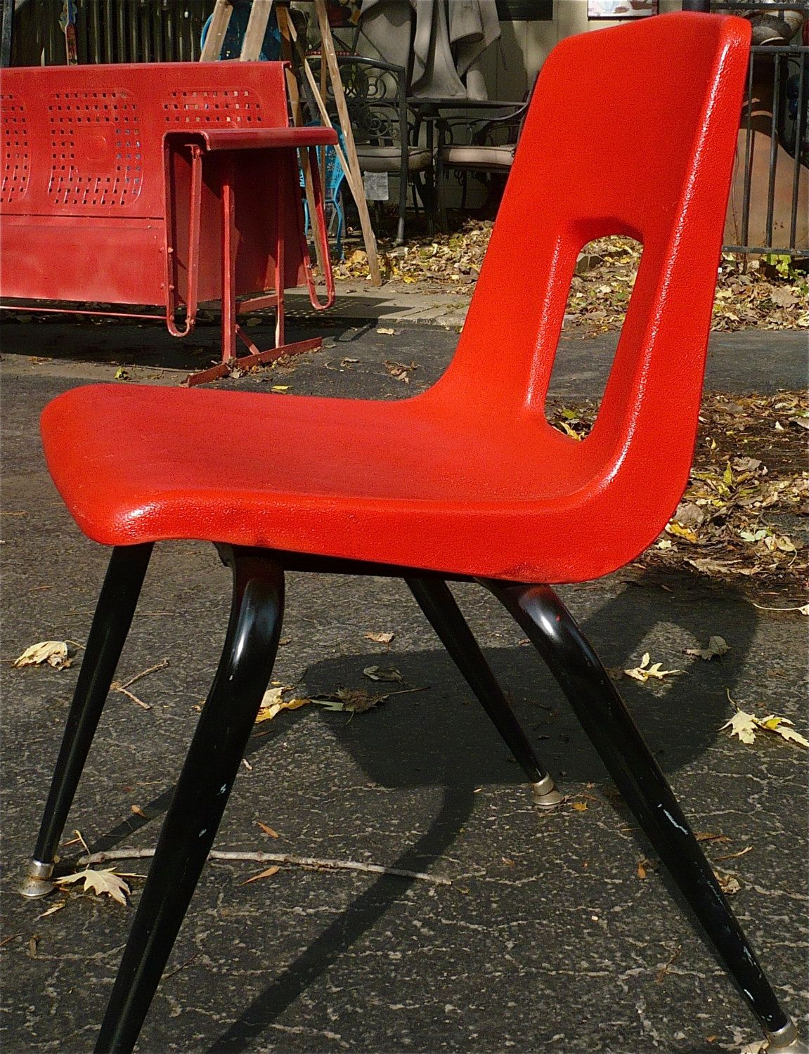 artco bell chairs world market outdoor chair cushions retro mcm red mid century childs vintage furniture children plastic by