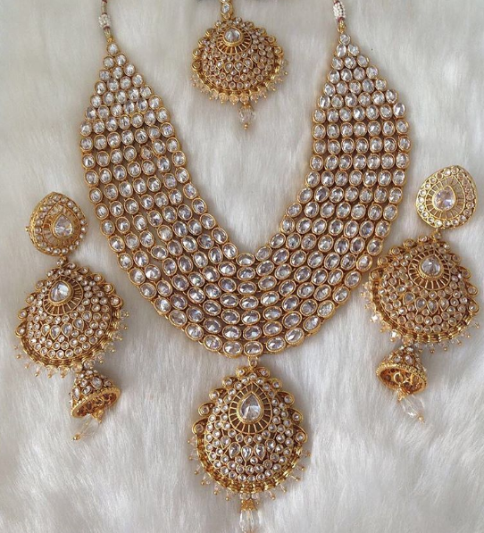 Indian Bridal Jewelry Set Beautiful Polki Necklace Set Stunning