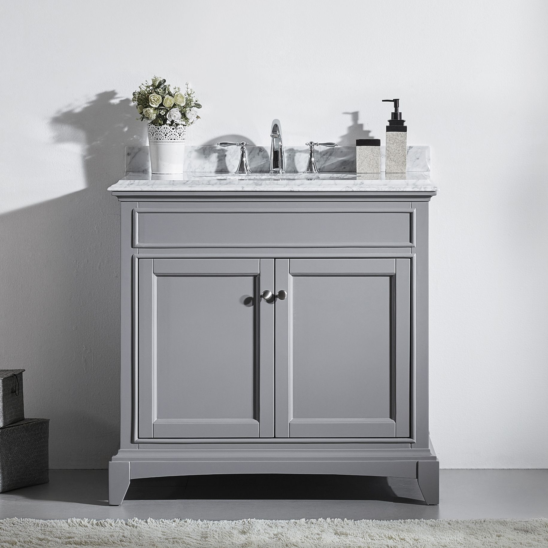 Eviva Stamford 36 Traditional Single Sink Bathroom Vanity In Grey Evvn709 36gr At Discountbathroomva Grey Bathroom Vanity Bathroom Sink Vanity Bathroom Vanity