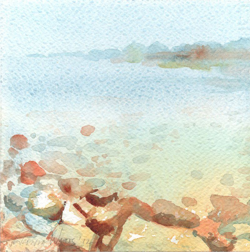 Foggy And Clear Ocean Watercolor Painting Painting Watercolor
