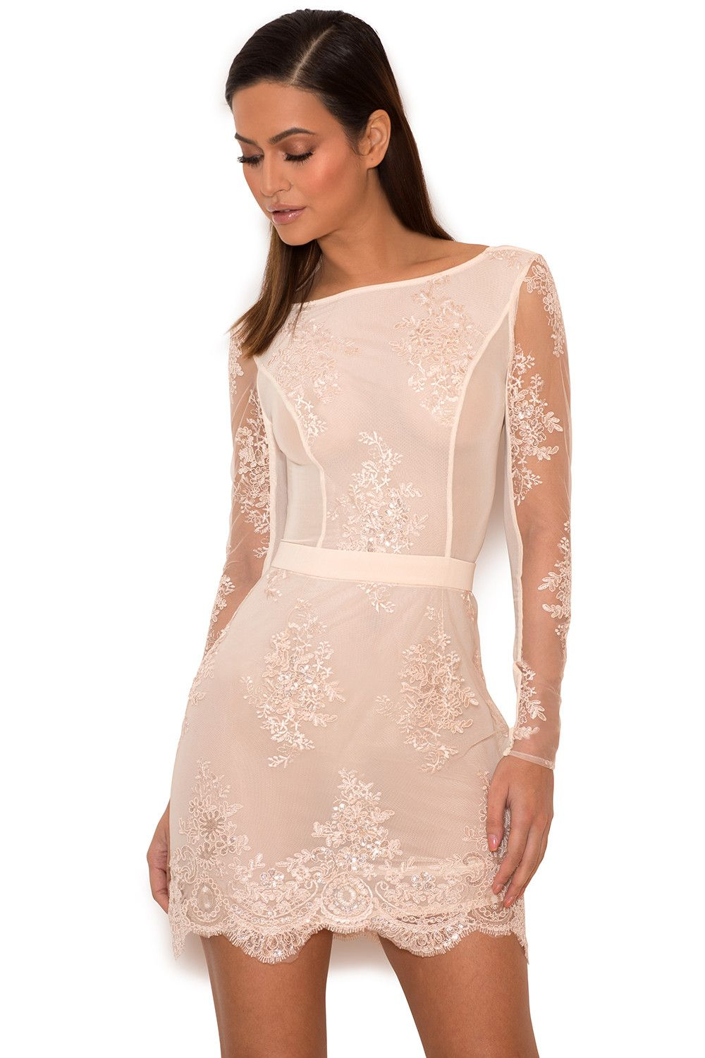 Clothing Bodycon Dresses Sathea Light Pink Lace And
