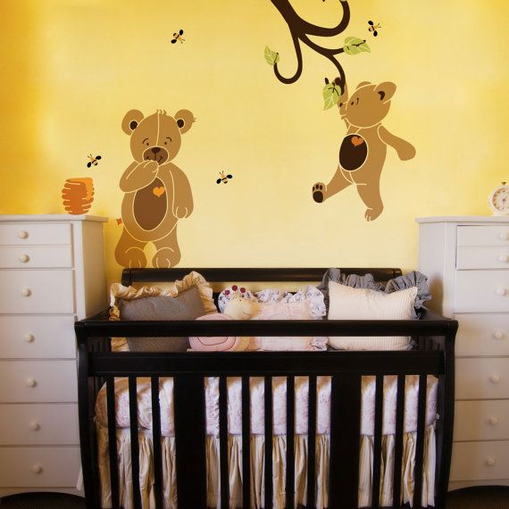 Teddy Bear Wall Stencils for Painting Bears in Baby Room Walls ...