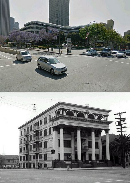 view looking at the south west corner intersection of hope and 1st 1955 and now by gsjansen, via Flickr