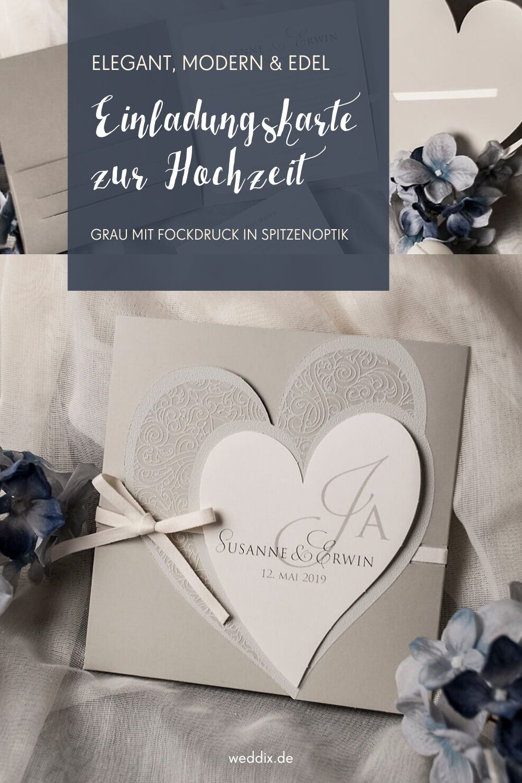 Hochzeitseinladung Kirsten In Elegantem Grau Hochzeitseinladung Karte Hochzeit Hochzeit Shop