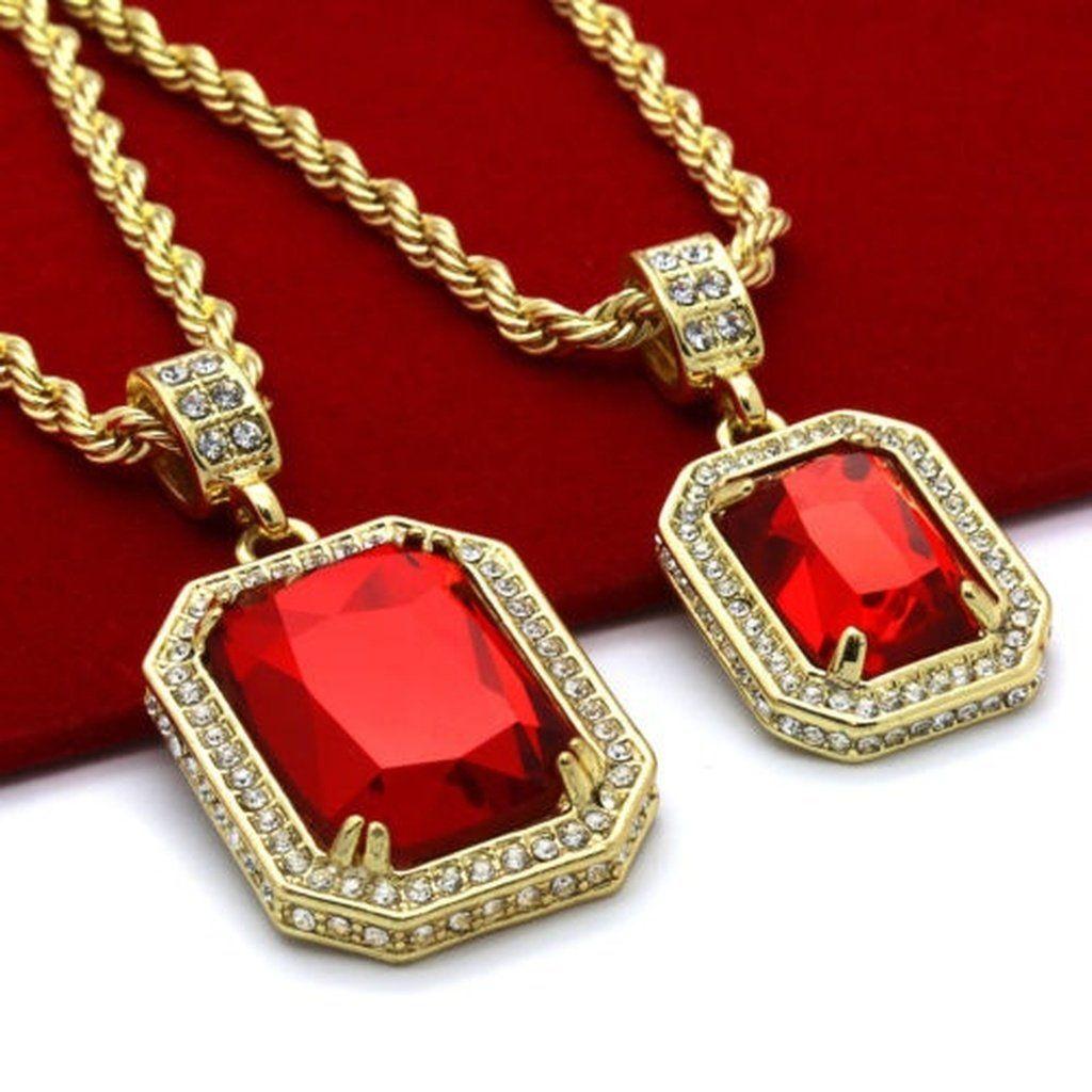 Menus k gold plated high fashion pieces ruby set mm