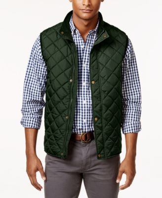 Club Room Men's Big and Tall Zip and Snap Quilted Vest, Only at ... : quilted vest men - Adamdwight.com