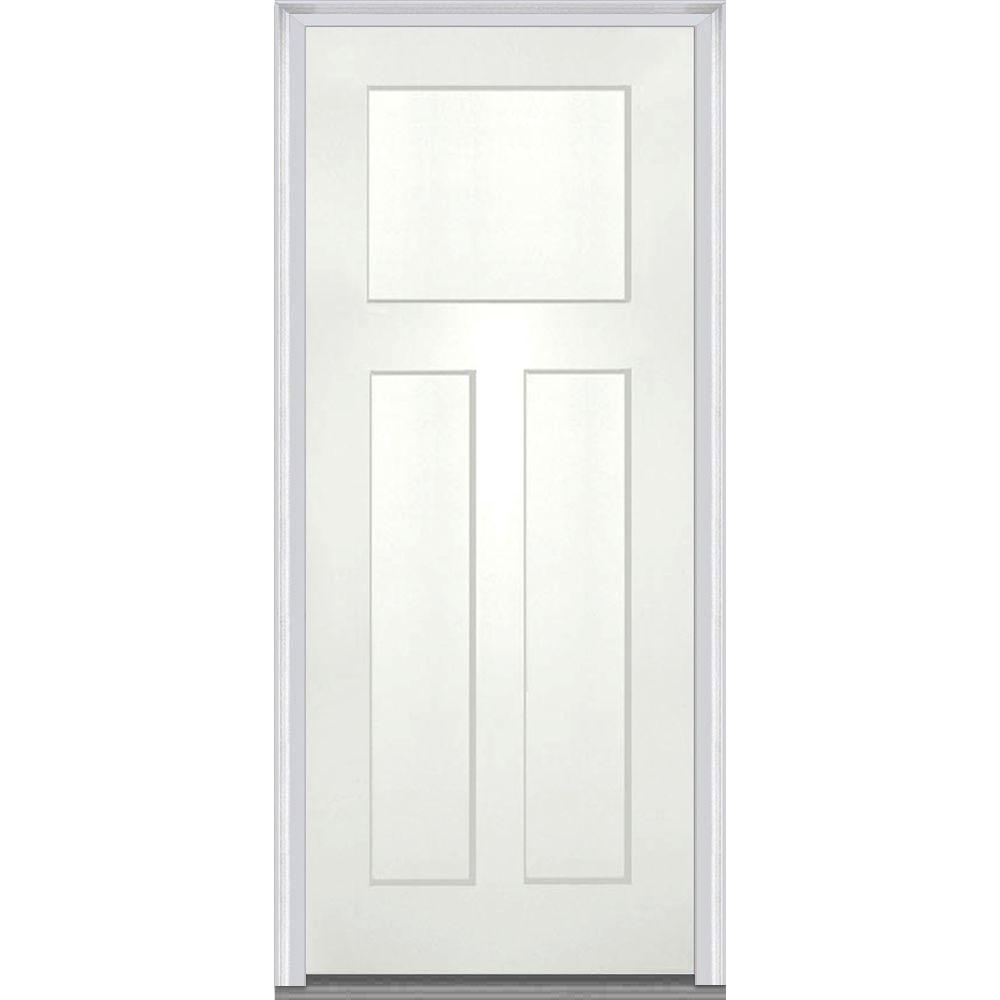 Mmi Door 36 In X 80 In Left Hand Inswing Craftsman 3 Panel Shaker Classic Painted Fiberglass Smooth Prehung Front Door Alabaster Shaker Style Doors Craftsman Door Brick Molding