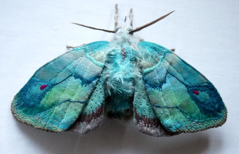 Fabric sculpture - Large Turquoise Moth textile art | Fake fur ...