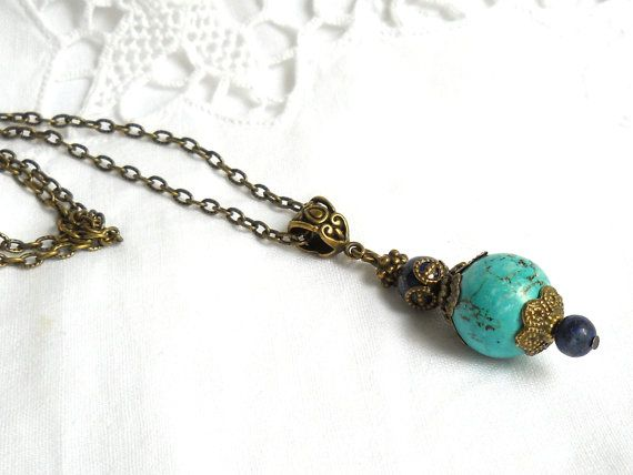turquoise bohemian necklace pendant necklace gypsy necklace