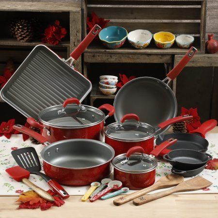 The Pioneer Woman 30pc Cookware Set (Red) Vintage