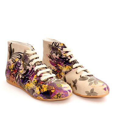 Another great find on #zulily! Cream & Violet Floral Swirl Ankle Boot #zulilyfinds