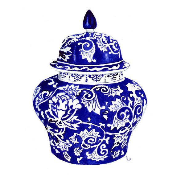 blue and white china ginger jar ready to hang art print number 3
