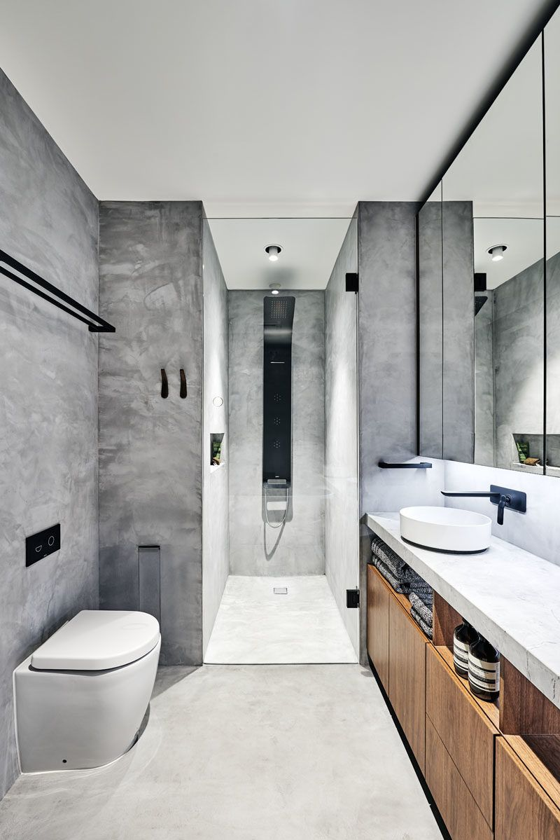A Modern Industrial Look Was Created For This Townhouse Industrial Modern Bathroom Gray Bathroom Decor Bathroom Inspiration Modern