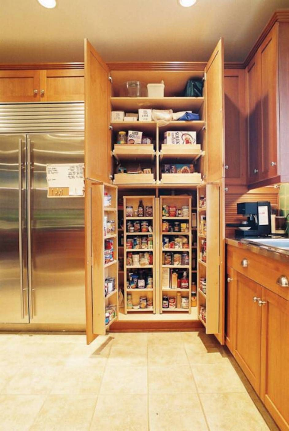 Wood Corner Pantry Cabinet Feat Silver Refrigerator