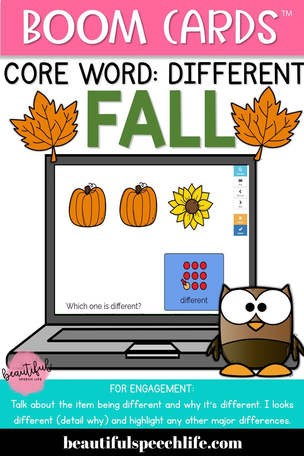 No Print Boom Cards™ AAC Core Word Different FALL