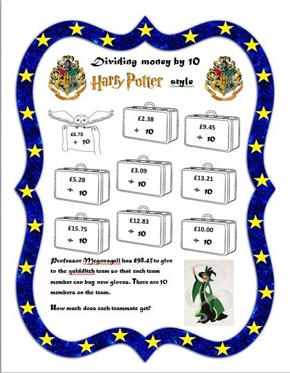 harry potter themed dividing money by 10 free printable ks2 year3 worksheet. Black Bedroom Furniture Sets. Home Design Ideas