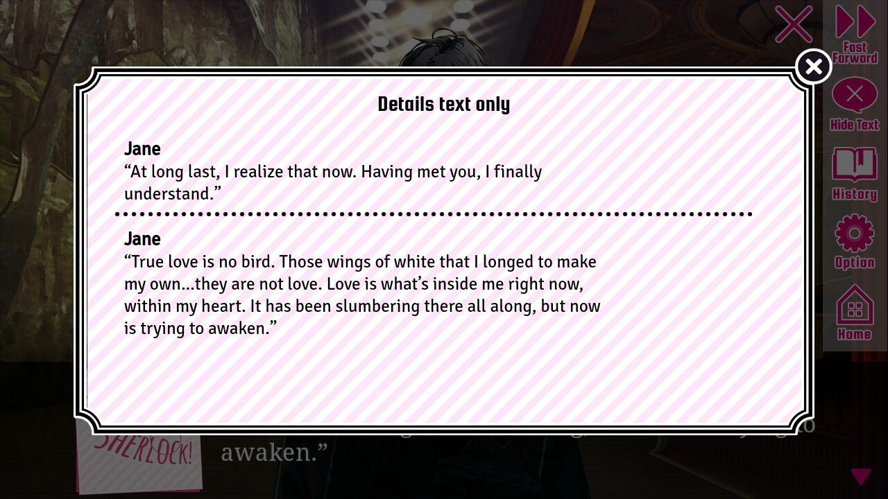 Quote from Guard me Sherlock premium route last chapter
