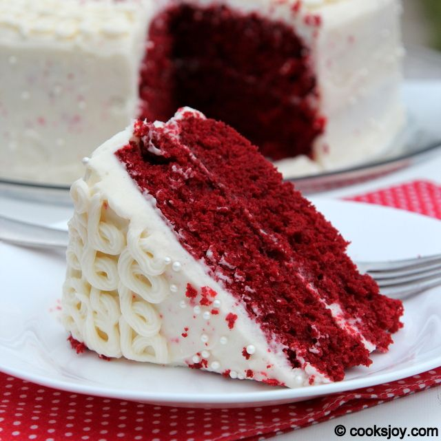 Cooks Joy Red Velvet Cake With Cream Cheese Frosting Frosting Recipes Just Desserts Delicious Desserts