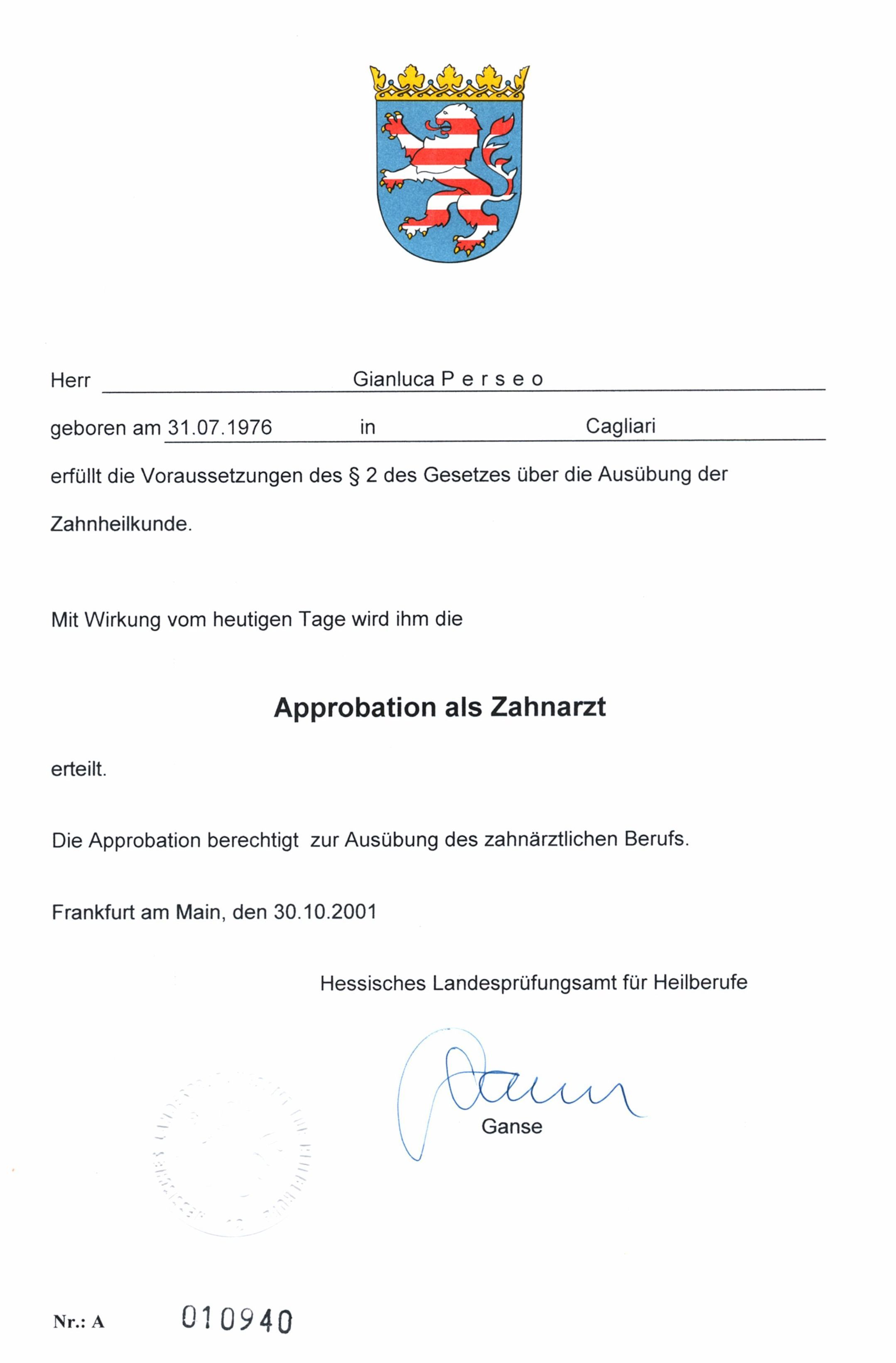Dental State Licensure from GERMANY Medical License