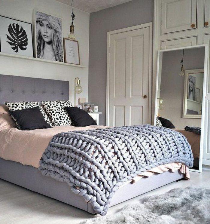 Elegant Deco Chambre Fille En Rose Et Gris Mur Blanc Et Gris Linge Maison Noir Gris  Et Rose Clair Décoration Mur Photographies Plaid Gris Tapis Gris
