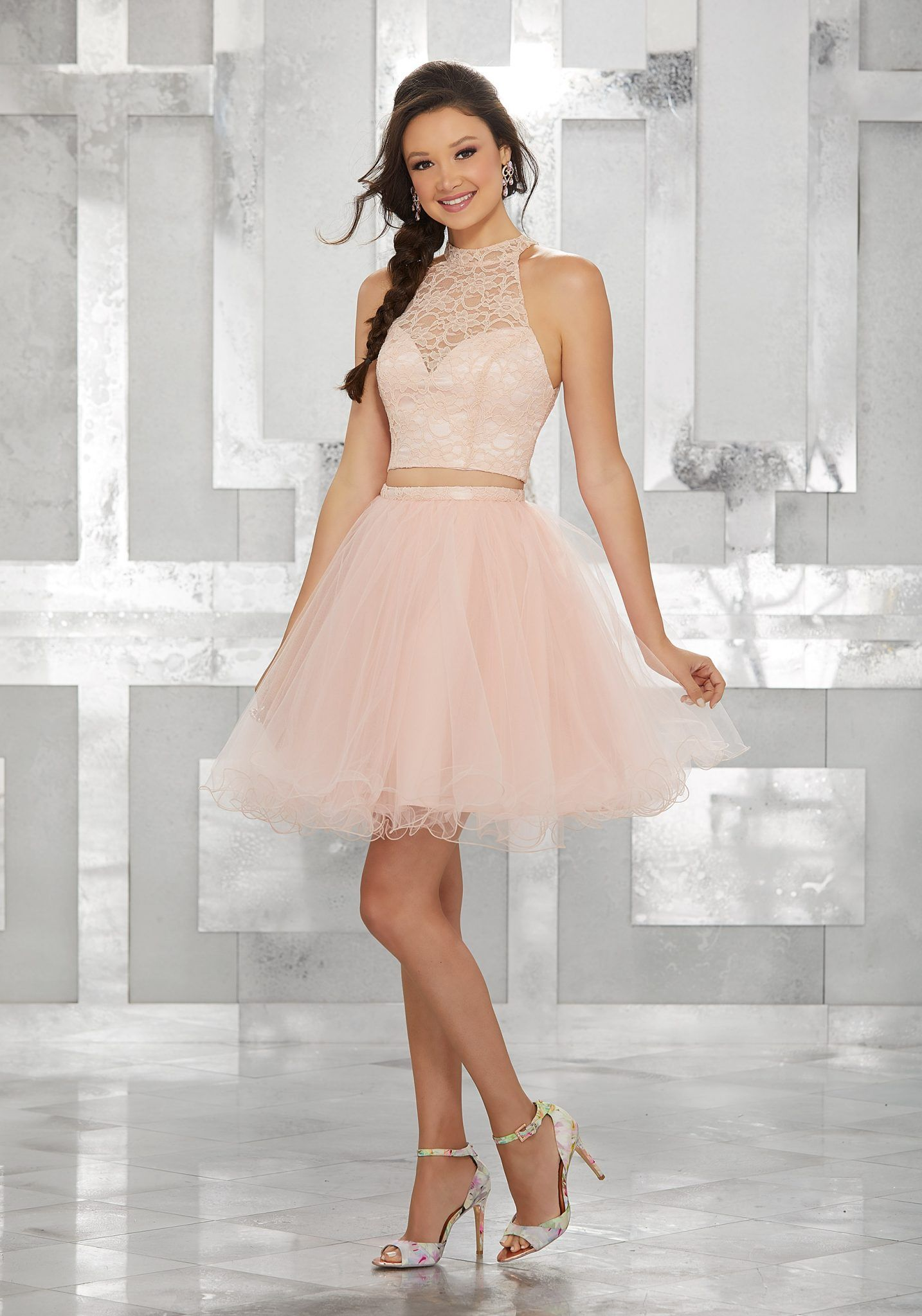 2020 Klos Abiye Elbise Kisa Gece Elbiseleri Pudra Halter Yaka Tul Etek Iki Parca The Dress Mezunlar Gecesi Elbiseleri On Bes Yas Partisi Elbiseleri