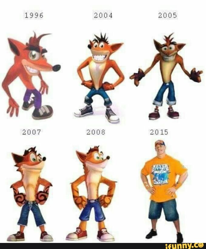 crash bandicoot character design evolution throw back pinterest