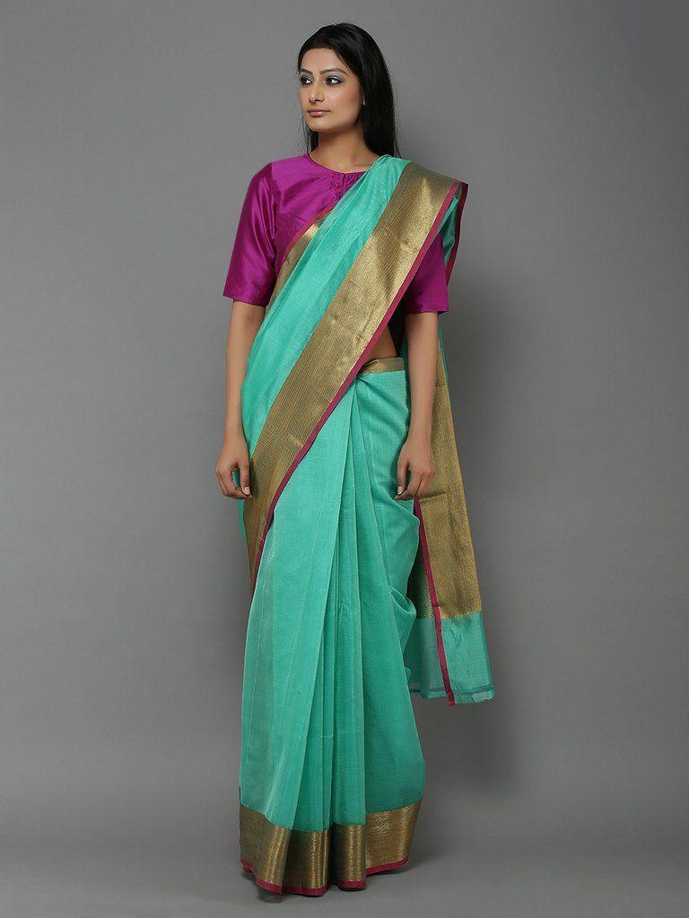 ee6365397fa41 Sea Green Handwoven Banarasi Cotton Silk Saree
