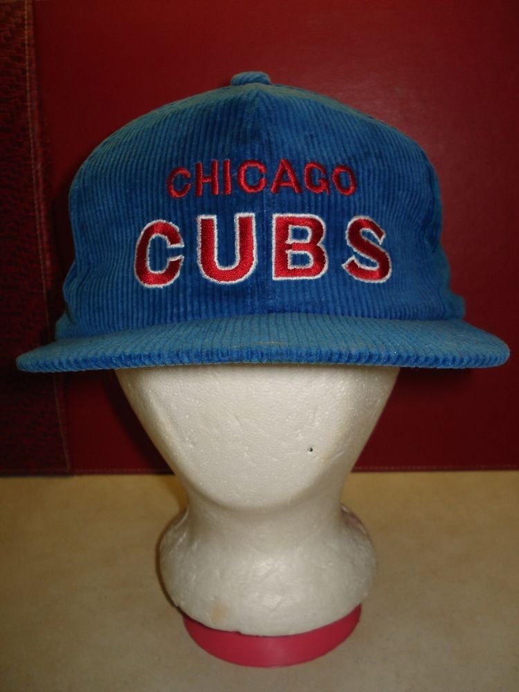dbc46425b69 Vintage CHICAGO CUBS Corduroy HAT SNAPBACK Adjustable MENS ...