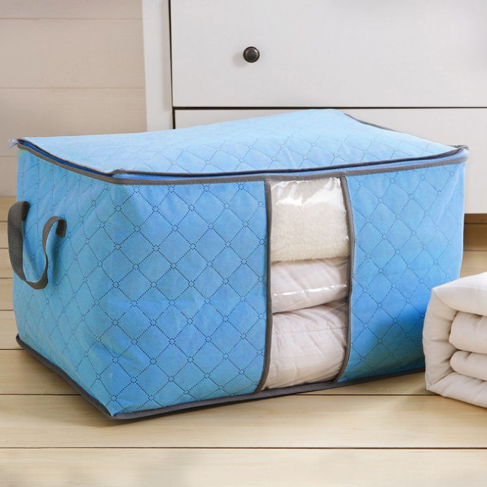 High Capacity Clothes Quilts Storage Bag Folding Organizer Bags Bamboo Portable Storage Container Quilt Storage Bag Storage Storage Bags Organization
