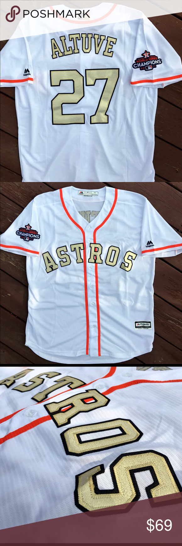 detailed look 4789f 5c163 Jose Altuve Houston Astros Gold Majestic Jersey XL Just ...