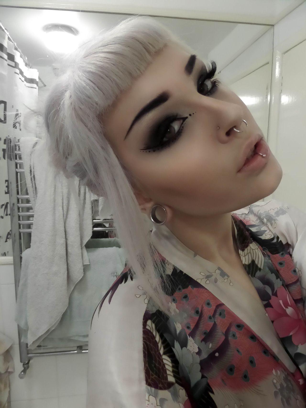 Makeup Short bangs Smokey eye makeup White hair