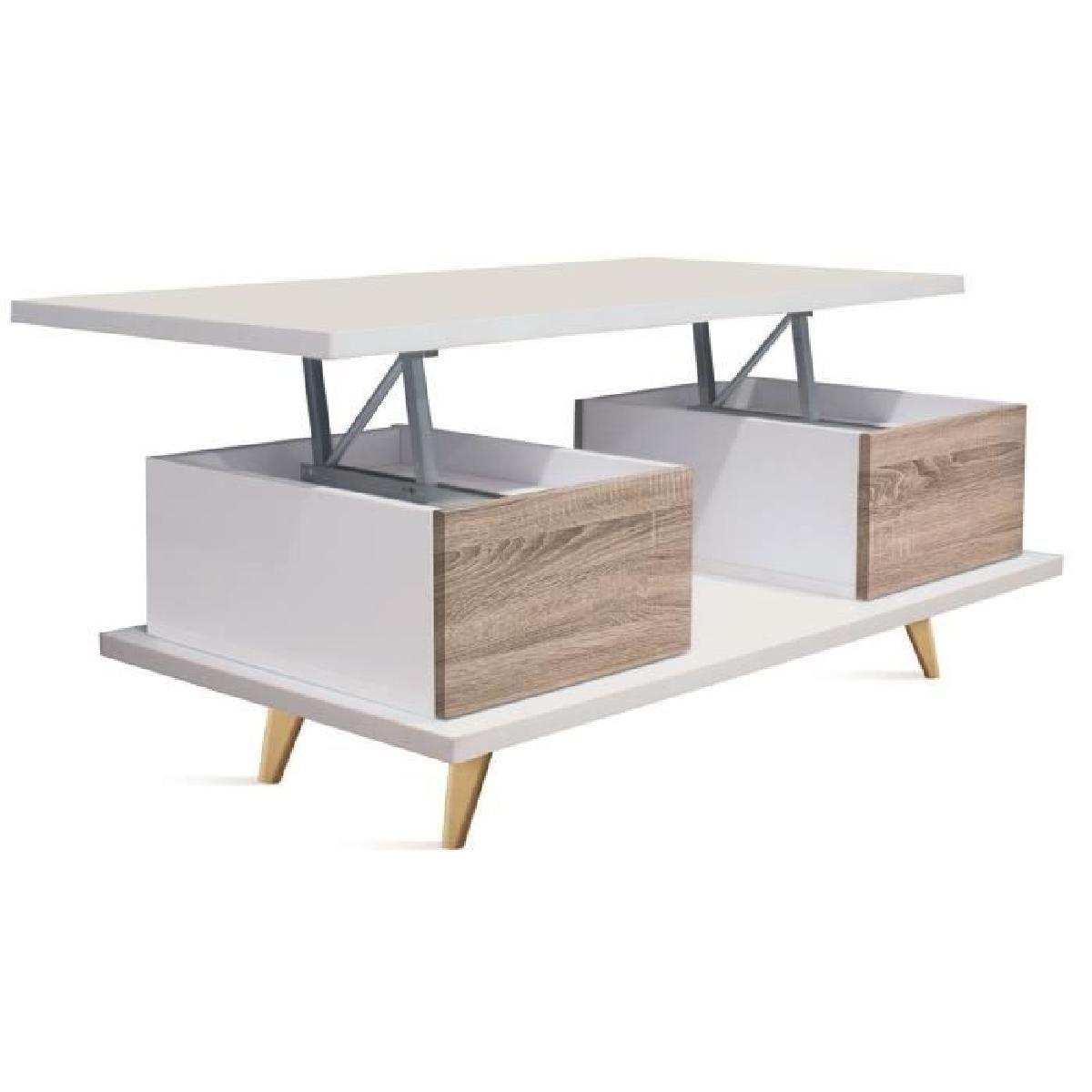 Table Basse Relevable En Bois Coloris Blanc Cambrian Dim L  # Casier Acacia Blanchie