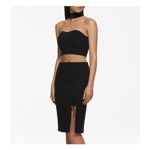 Forever New Kylie lace up pencil skirt (€23) ❤ liked on Polyvore featuring skirts, white skirt, white knee length skirt, forever new, white pencil skirt and white knee length pencil skirt