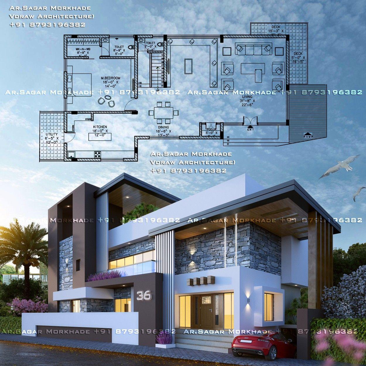 Modern Residential Exterior By Ar Sagar Morkhade: #Modern #Residential #House #bungalow #Exterior By, Ar