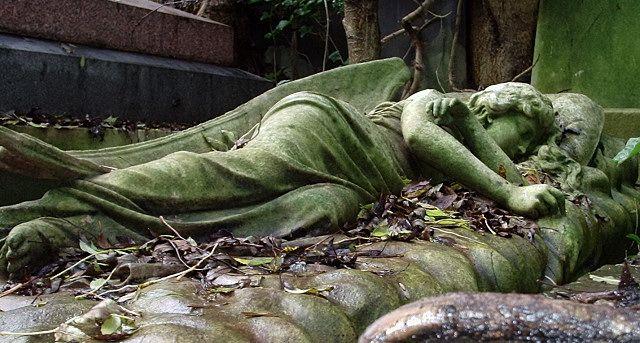 Sleeping Angel at Highgate Cemetery in North London
