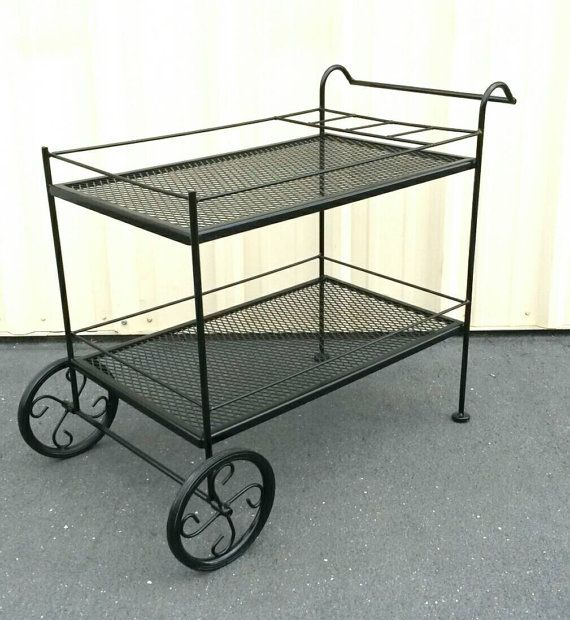Wrought Iron Cart Bar Tea Or Serving Coffee Station Potted Plant Garden Flower Carriage Black Metal Steel Wheels Vintage Chic