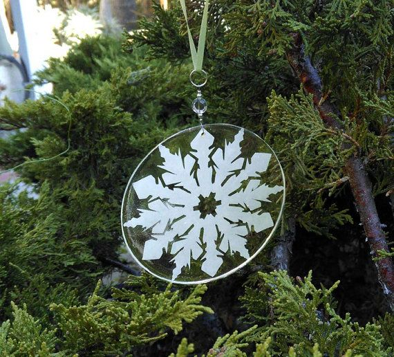 White Snowflake Ornament - Eco Resin and Recycled Paper.  Cute hanging on the tree or on a wine bottle.  Great hostess gift!  by CatalinaInspired