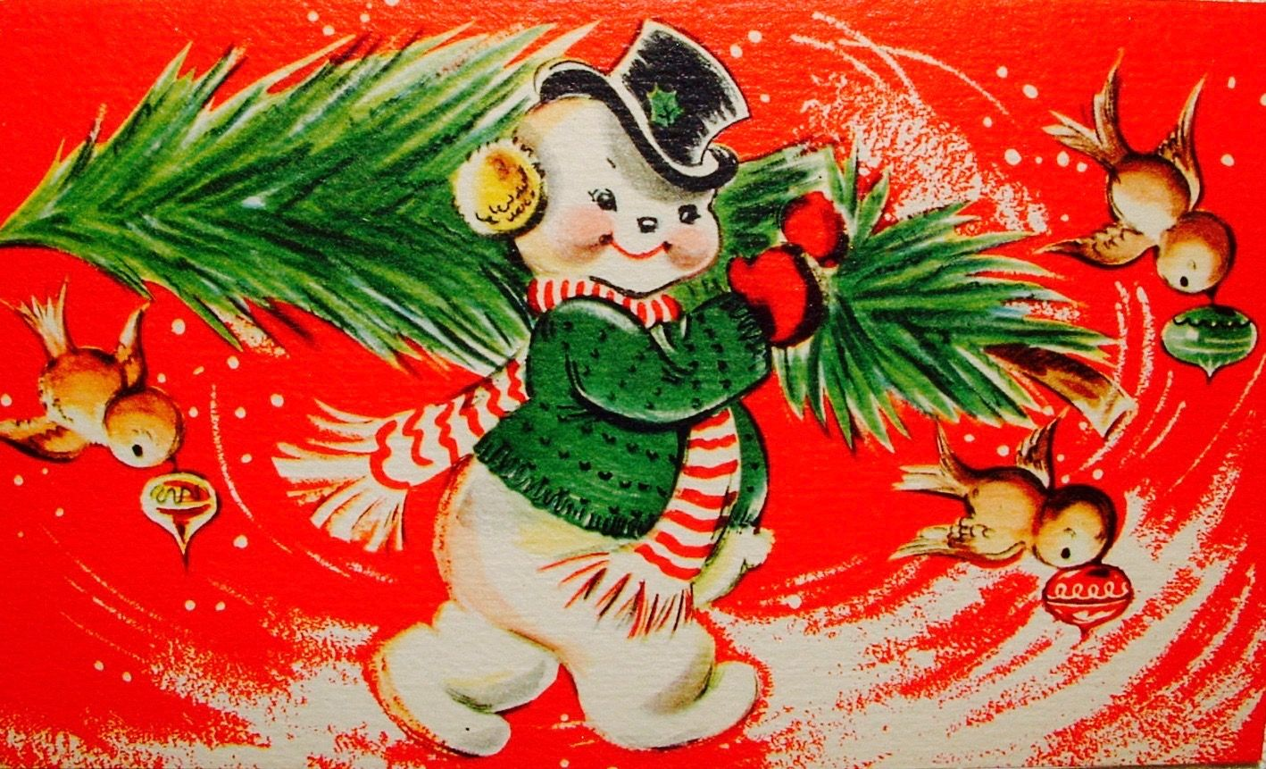 Vintage Snowman. Vintage Christmas Card. Retro Christmas Card ...