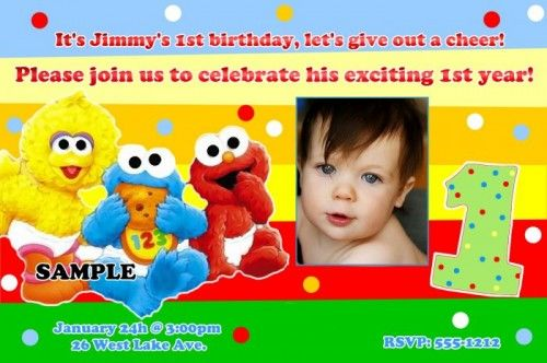 Awesome FREE Template Personalized Sesame Street Birthday Invitations