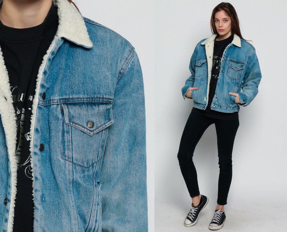 Denim sherpa jacket denim shearling jacket s jean jacket fleece