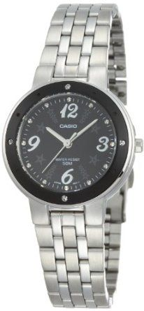 Casio Womens LTP1318D-1AV Silver Stainless-Steel Quartz Watch with Black Dial