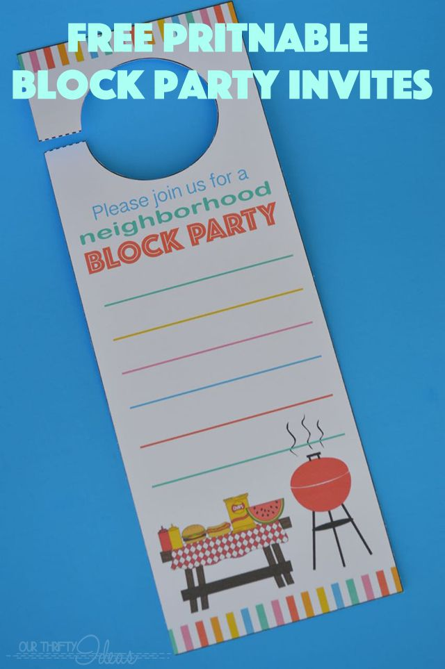 Neighborhood Block Party Invitation - Free Printable - Our Thrifty ...