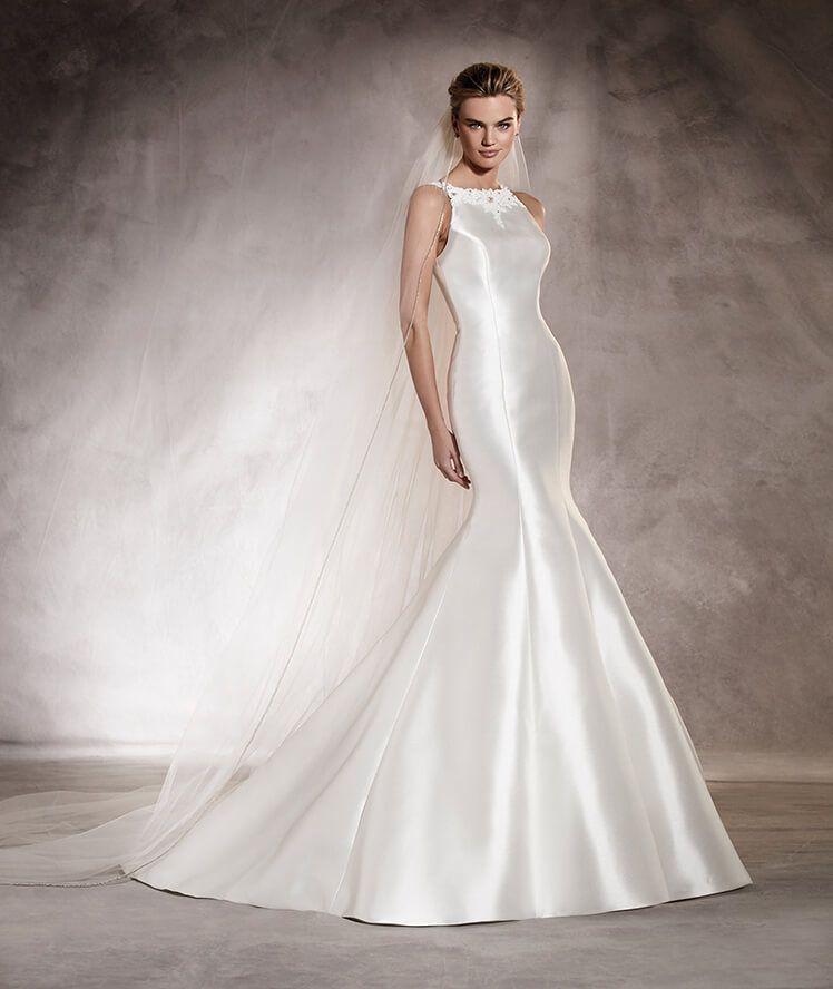 arcila - vestido de novia sirena en mikado, escote caja, pedrería y tul