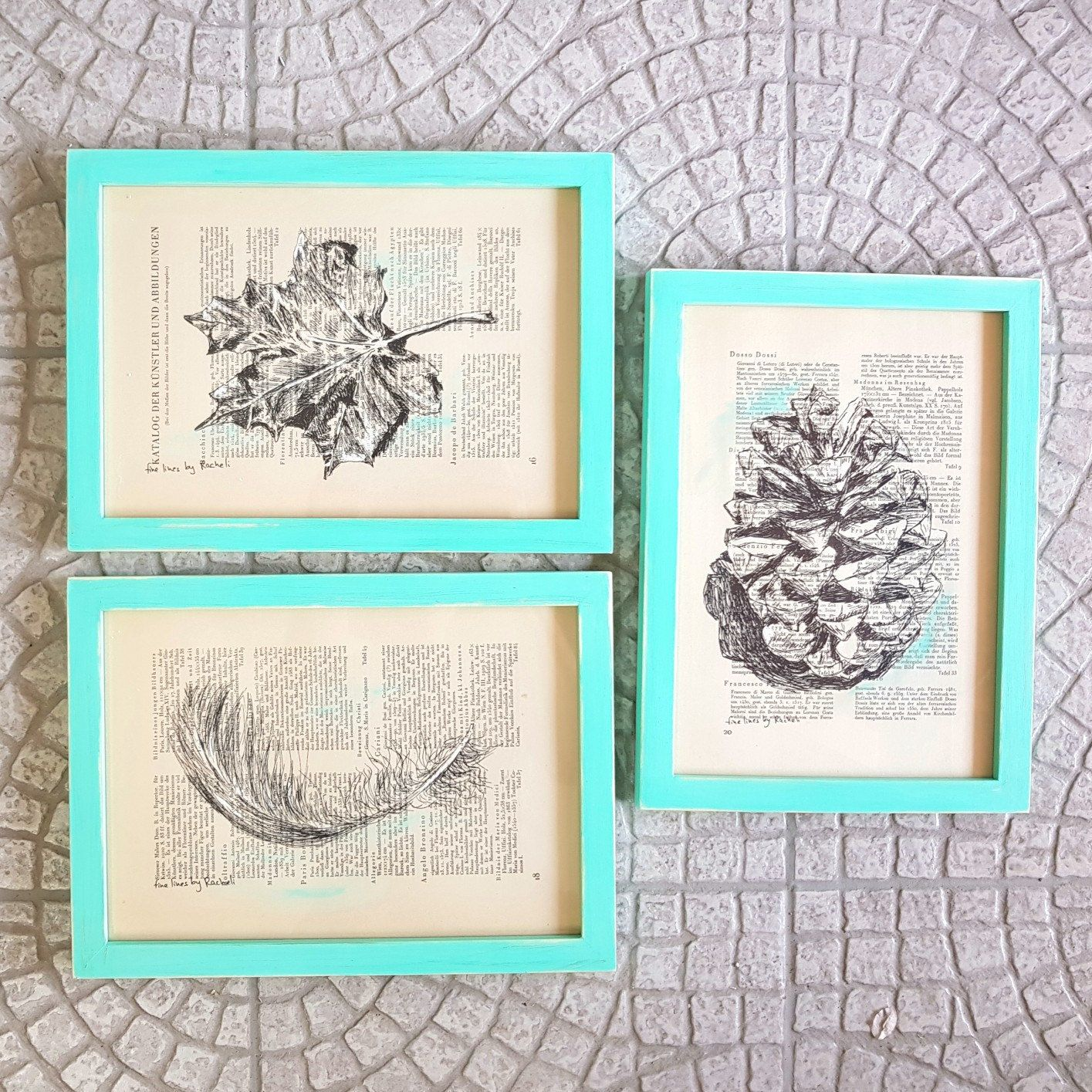 Natural Prints Set, Rustic Framed Art, Feather Print, Botanical Art ...