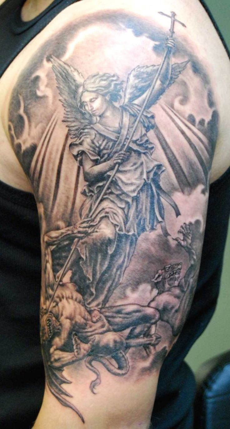 Angel sleeve evil half sleeve tattoos pinterest tattoo for Demon half sleeve tattoos
