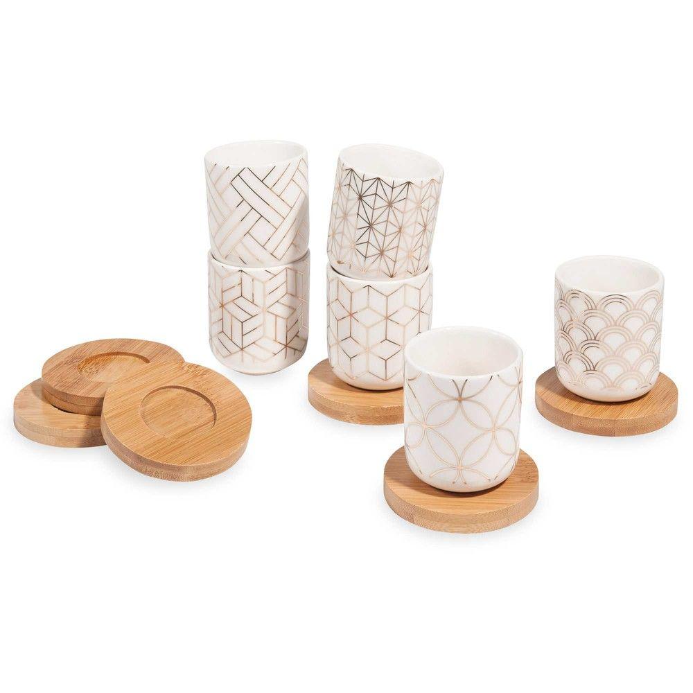 Coffret 6 tasses et soucoupes en porcelaine accessoires tasse et soucoupe maison du monde - Tasse maison du monde ...