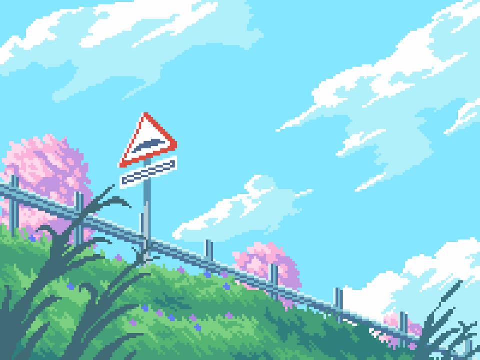 [OC] Sign PixelArt Pixel art landscape, Pixel art