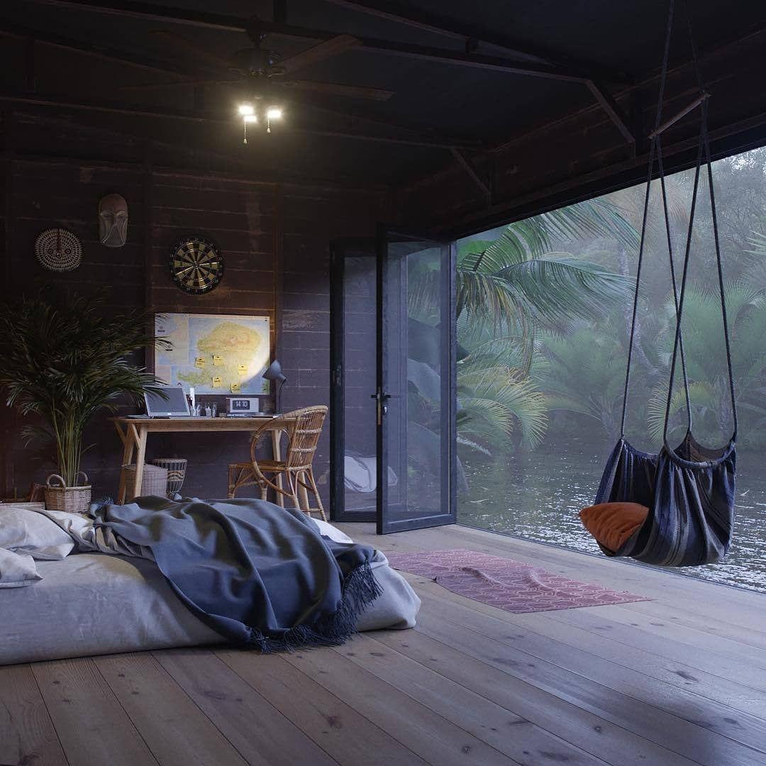 Hut Adventurer by Dmitri Reviakin 😍  #hut #retreat #exotic #bedroom #bed #interior #interiors #interiordesign