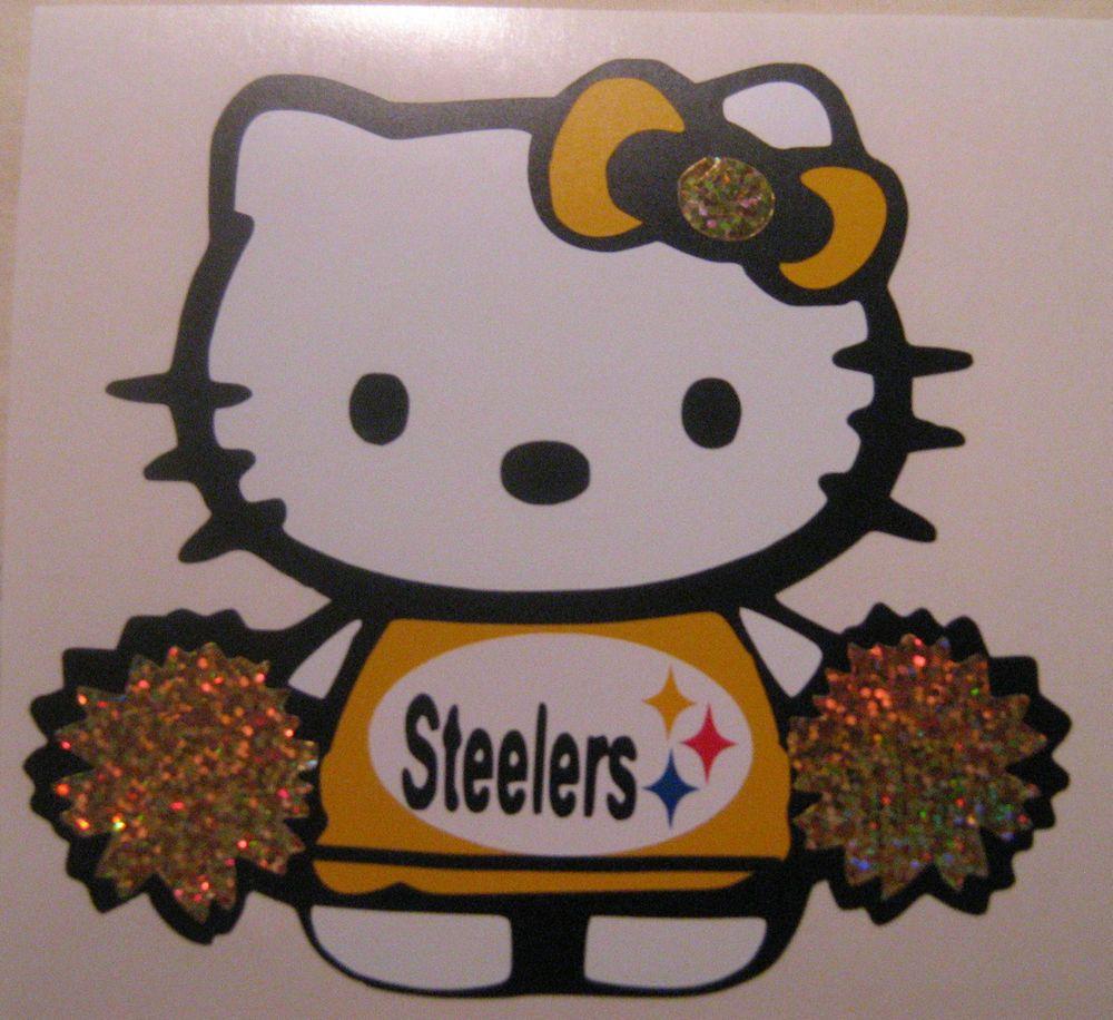 Hello Kitty Pittsburgh Steelers Vinyl Handmade Car Window Or Wall Decal Hello Kitty Steelers Kitty [ 916 x 1000 Pixel ]