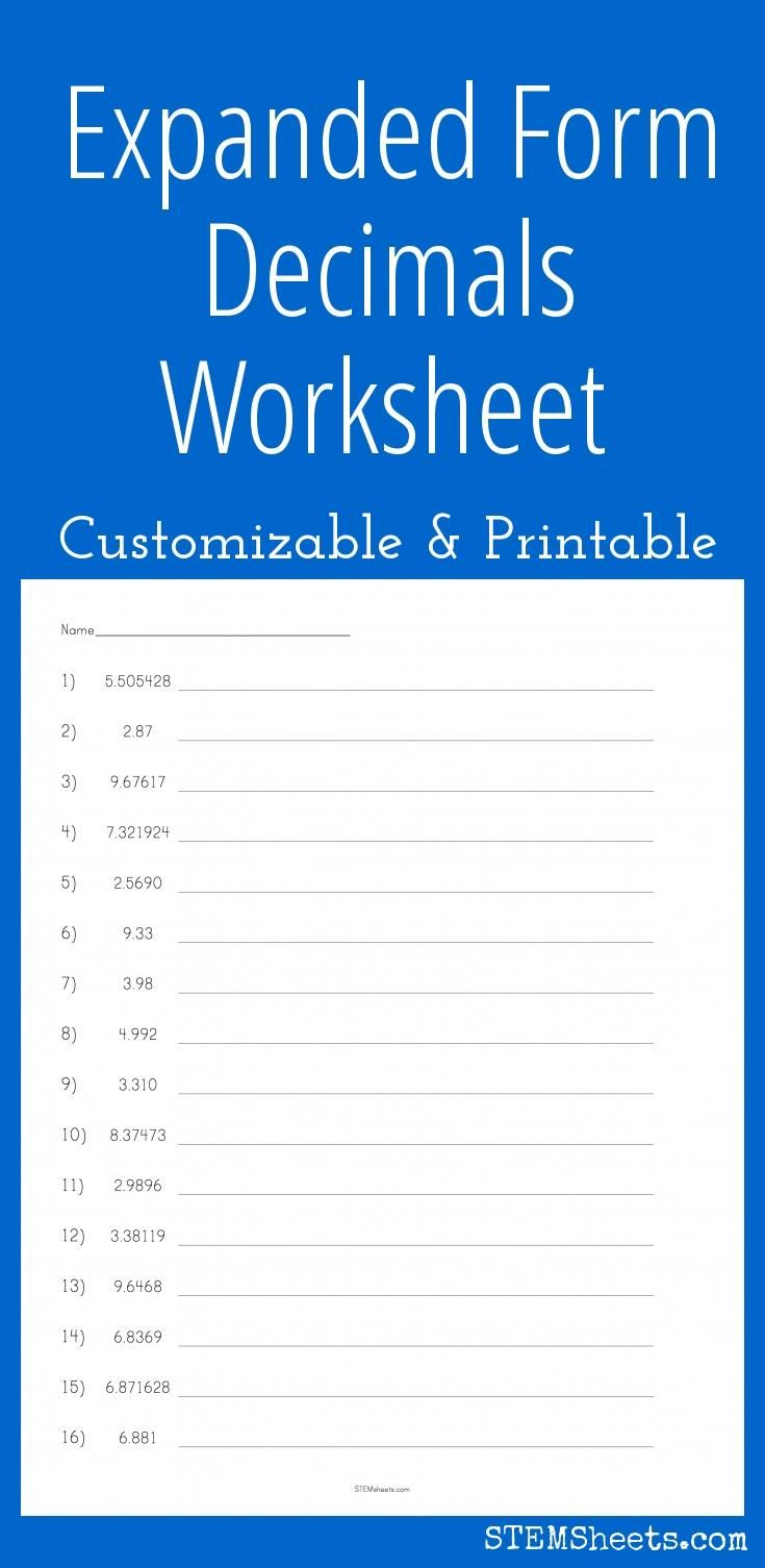 Expanded Form Decimals Worksheet Customizable And Printable